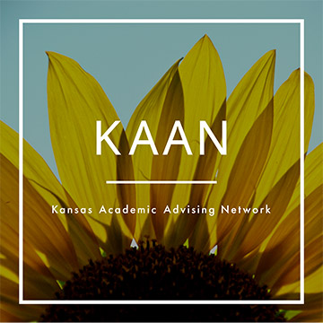 KAAN logo with sunflower background